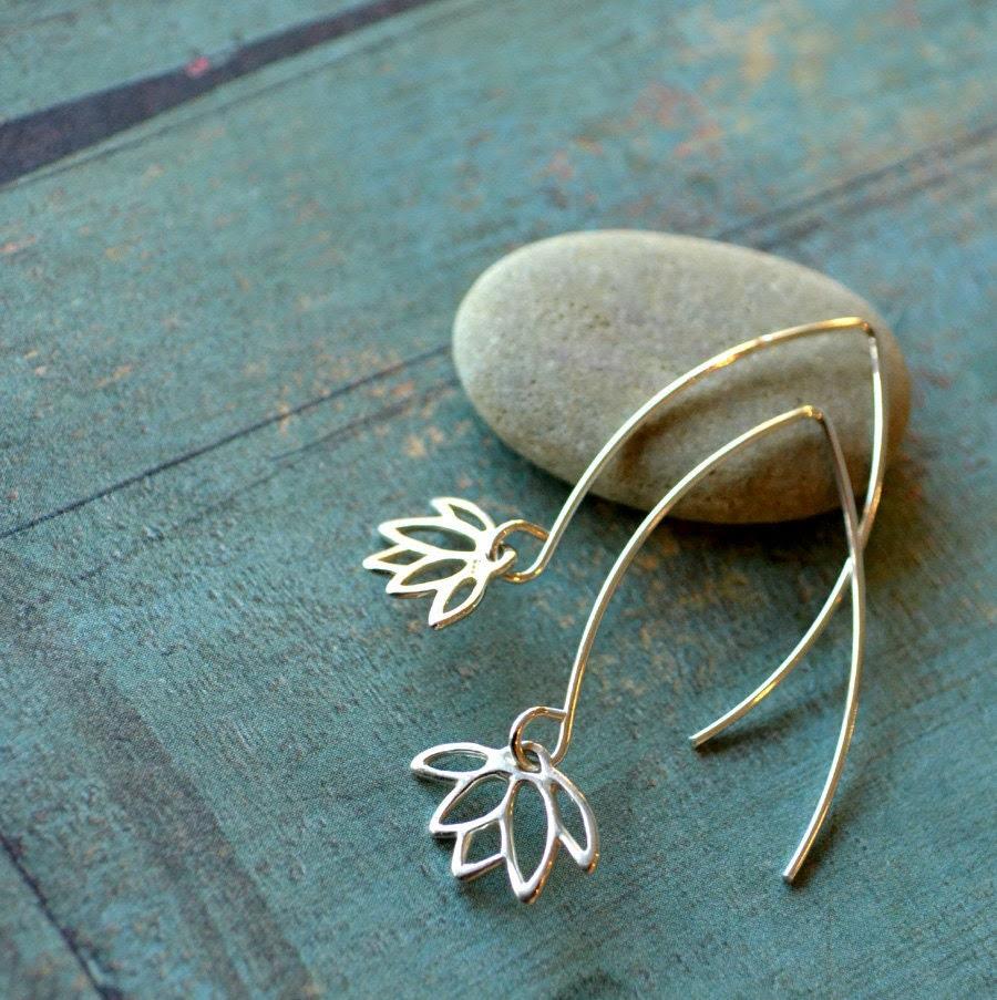 Lotus Flower long sterling silver earrings - fleurfatale
