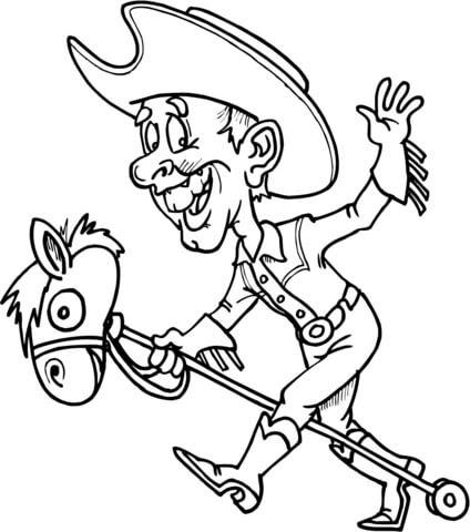 Coloriage Cowboy Sur Un Cheval Jouet Coloriages à Imprimer Gratuits
