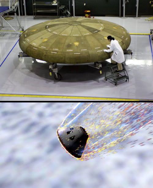 TOP PIC: Boeing engineer Elizabeth Chu inspects a prototype heat shield for the ORION Crew Exploration Vehicle.  BOTTOM PIC: A computer rendition showing ORION re-entering Earth's atmosphere.
