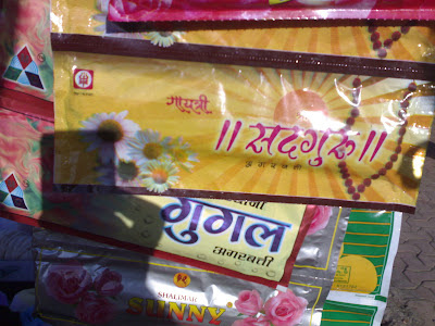 A road side stall selling Indian incense stick, locally branded as Google in Hindi