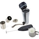 Mind Reader Coffee Lovers 4 PC Set Travel Mug, Frother, Pitcher, Grinder, Stainless Steel (CLS1-ASST