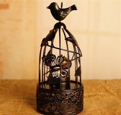 birds butterfly floral cage retro metal vintage candle
