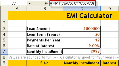 How to calculate EMI – Download Excel EMI calculator | Naveen's Blog