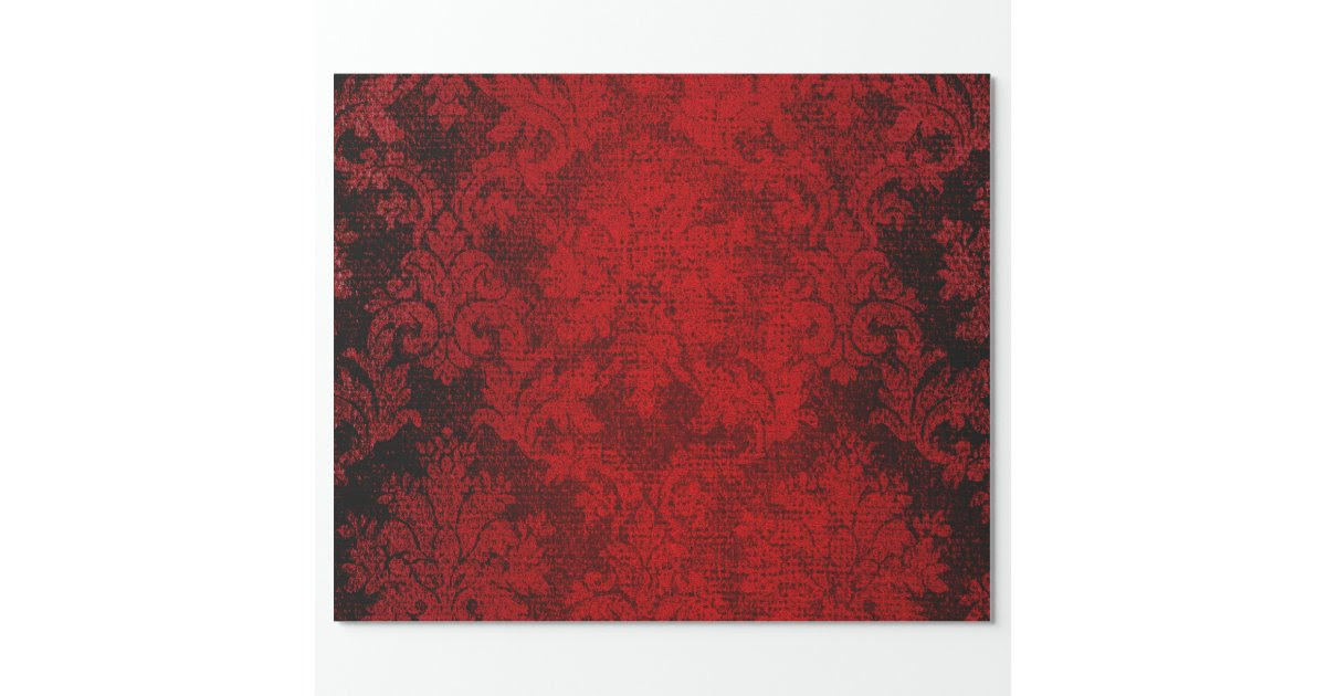 Red Goth Victorian Damask Vintage Wallpaper Wrapping Paper ...