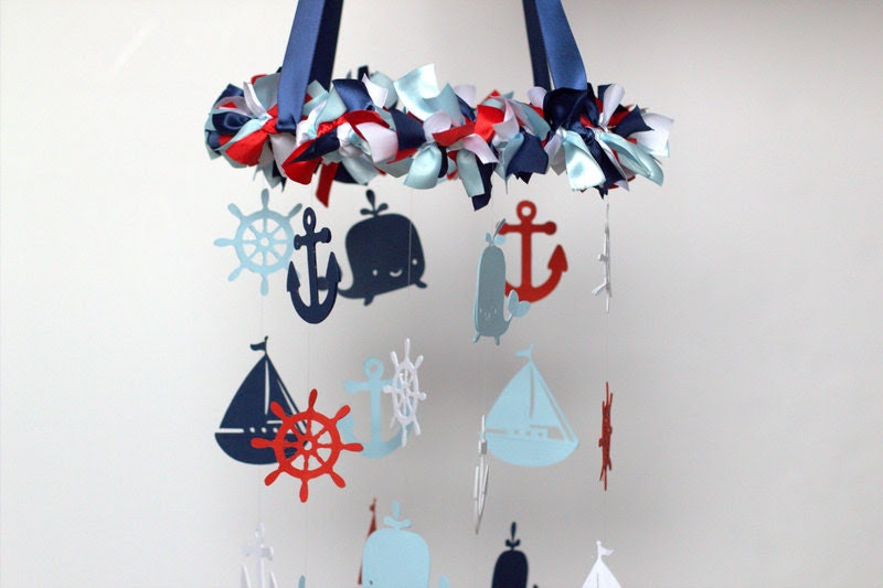 Nautical Nursery Mobile in Red, Navy, Baby Blue & White-Baby Mobile, Crib Mobile, Baby Shower Gift - LoveBugLullabies