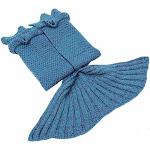 Altatac Mermaid Tail Knit Crochet Warm & Soft Handmade Sleeping Sofa Blankets - Blue, Regular