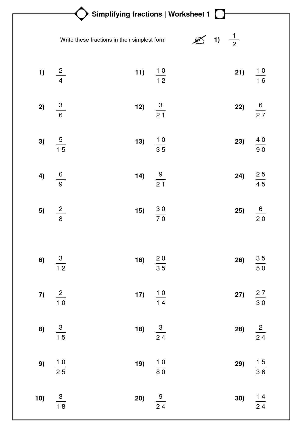simplest form fractions worksheets printable_114733