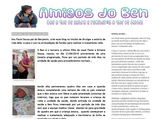 Pais criam blog para levantar recuros para tratamento do filho com paralisia cerebral no Acre (Foto: Reprodução)