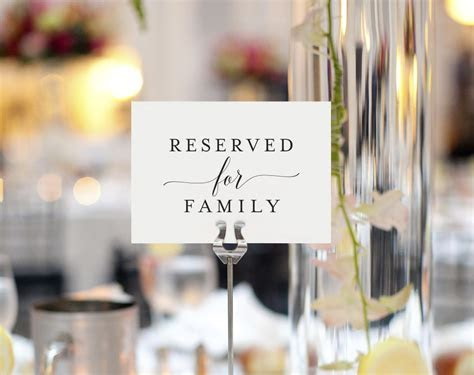 FREE Reserved for Family Printable Card from   dohl ideas