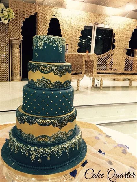 Asian Wedding Cake. In royal blue & gold with edible lace