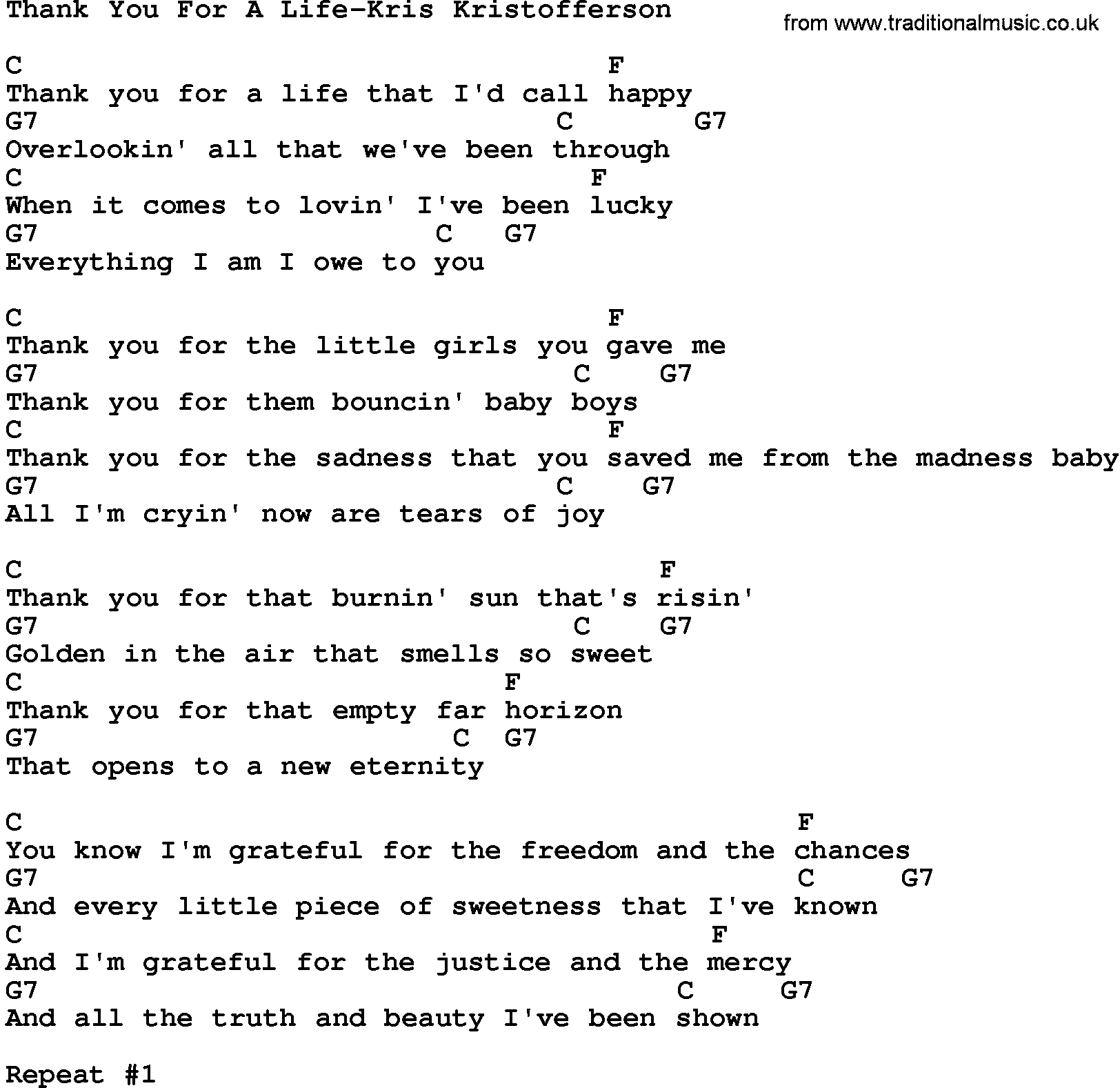 Country Musicthank You For A Life Kris Kristofferson Lyrics And Chords