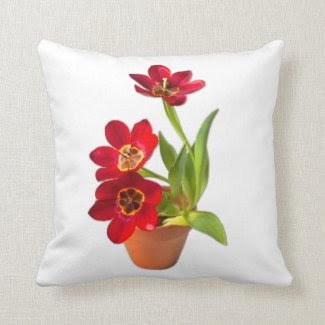 Potted Mature Red Tulips Photograph Pillow