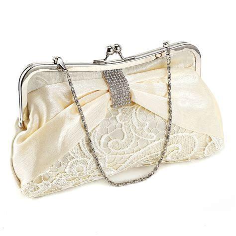 Ladies Diamante Satin Lace Wedding Bridal Clutch Bag