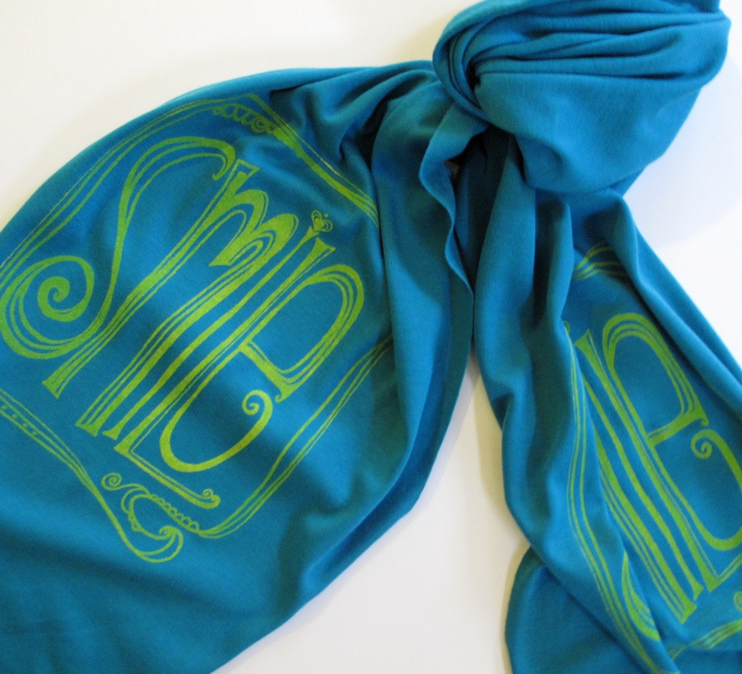 Scarf  -  Cotton Jersey in Teal with Yellow Smile