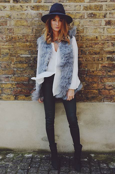 Millie Mackintosh - fedora, furry gilet, skinnies - everything.