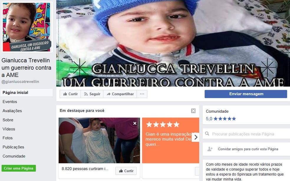 Página de Gianlucca Trevellin tem detalhes da luta da família pela liberação de medicamento pela Anvisa (Foto: Reprodução/Facebook/Gianlucca Trevellin)