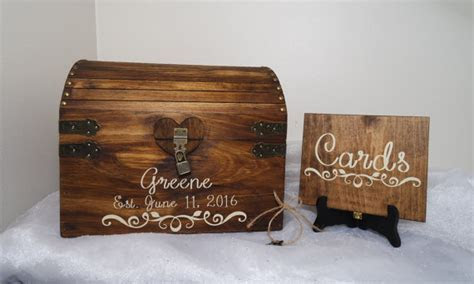 Rustic Wooden Wedding Card Chest With Card Slot
