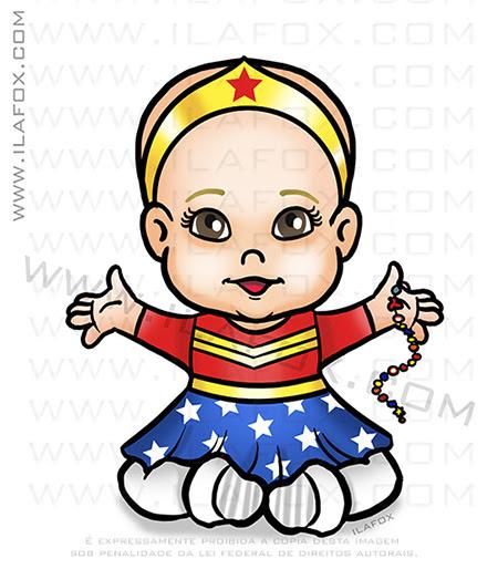 desenho bebê, mulher maravilha, desenho personalizado, caricatura personalizada bebês, caricatura fofa, caricatura desenho, by ila fox