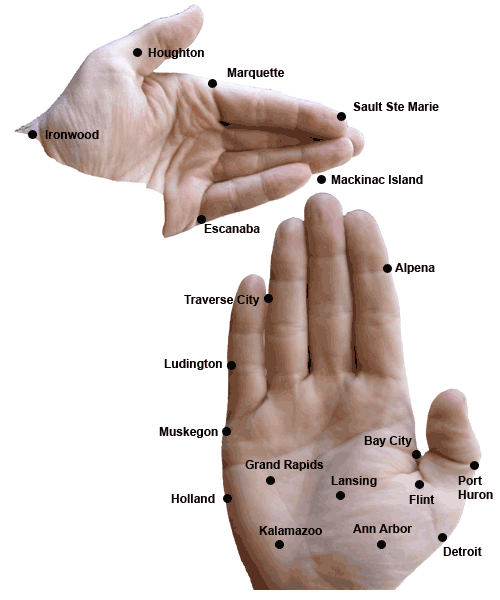 Michigan mapped to two hands. Awesome.