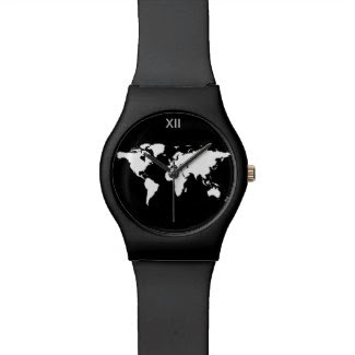 black and white world map watch