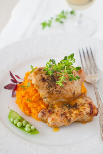 BBQ Roast Chicken with Carrot Puree