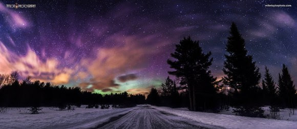 St Patrick's Day Aurora. This is a 5 image panorama of the Northern Lights display around 10PM in central Maine. Credit and copyright: Mike Taylor/Mike Taylor Photography.
