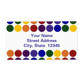 Rainbow Polka Dots on White address label