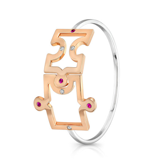 Puzzle Bangle (14K Gold with Diamonds and Pink Sapphires) – Dafina Jewelry