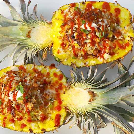 Ginger and Coconut Rice Pilaf Stuffed Pineapple