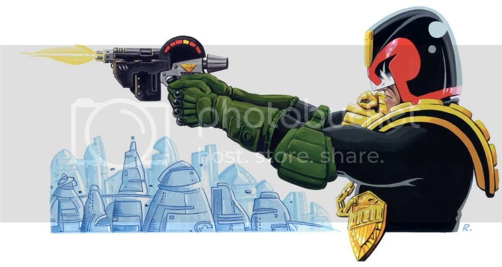 Painting,illustration,2000AD,Judge Dredd,Comic,Graeme Neil Reid
