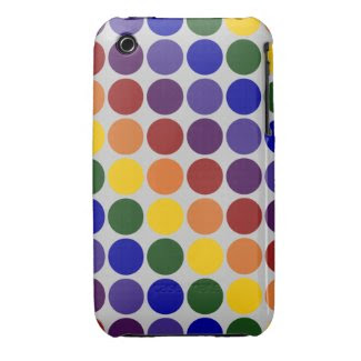 Rainbow Polka Dots on Grey Case-Mate iPhone 3 Case