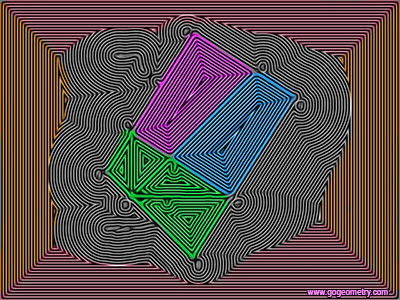 Geometry Art: Isolines or Contour Lines of Problem 1203, Right Triangle, Square, Three Congruent Trapezoids