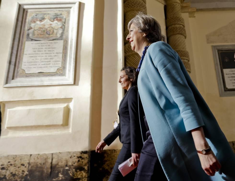 British PM Theresa May arrives at the EU summit in Valletta, Malta.