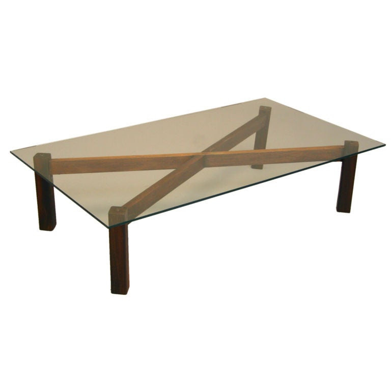 X-base Brazilian Rosewood and glass coffee table at 1stdibs