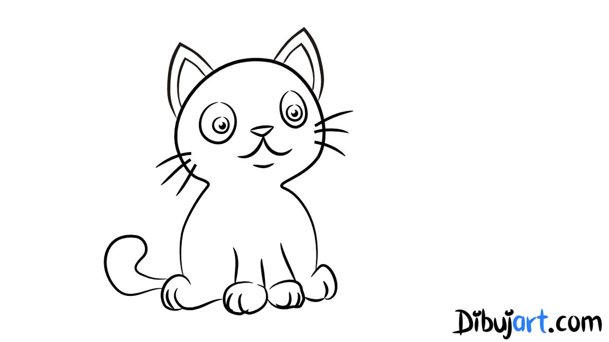 Cómo Dibujar Un Gato Muy Tierno Paso A Paso Dibujartcom