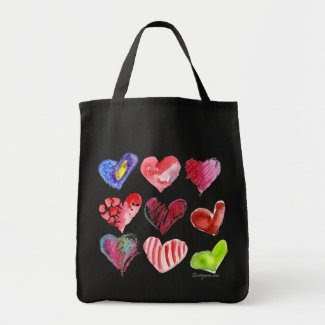 9 Love Hearts Tote Bag bag