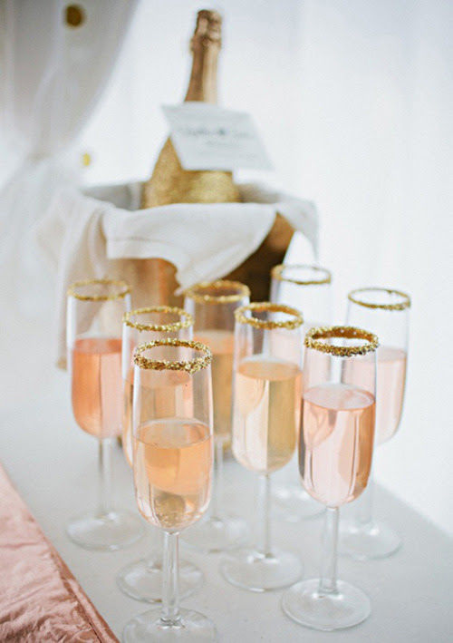 glittered pink champagne