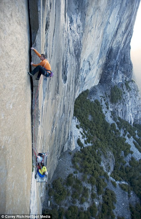 Free-climbers usually work in pairs, so that if one of them falls, the other can hold them up. On this expedition, the couple also had to carry up their camping equipment