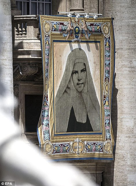 A tapestries showing St. Mariam Bawardy, who along with St Marie Alphonsine Ghattas lived in what was 19th century Palestine and have become the first saints from the Holy Land since the early years of Christianity