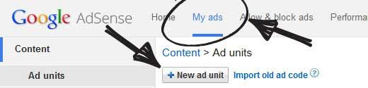 Google AdSense Create Ad