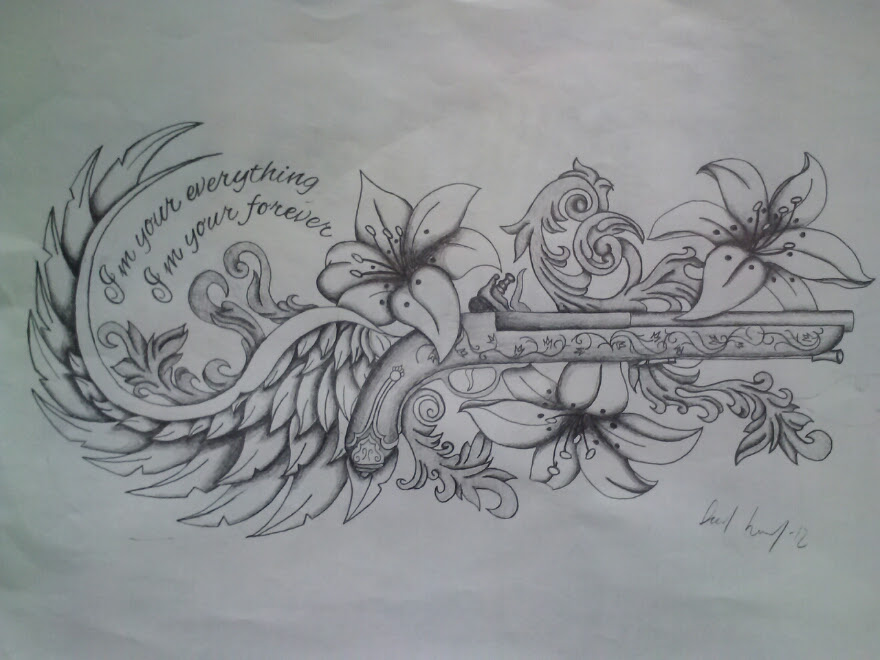 Flowers And Winged Gun Tattoo Design