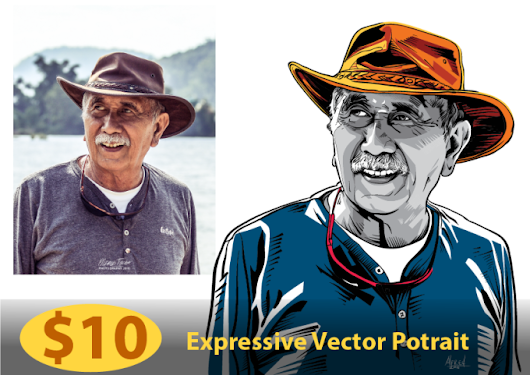 I will draw expressive vector potrait of you from photo
