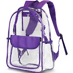 """Zodaca 17"""" Stylish Clear Backpack Schoolbag for Student Girls Women Adults Travel School Camping Daypack Transparent Sport Fashionable Bag Adjustable"""