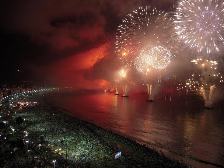 Happy New Year Rio de Janeiro Brazil holds one of the biggest New Year parties in the world! It's estimated that around 2 million party-goers will meet on Copacabana beach this new year's eve. The 'Revellion' event is held every year and here you can eat, drink, watch fireworks and dance into the early hours of the morning.