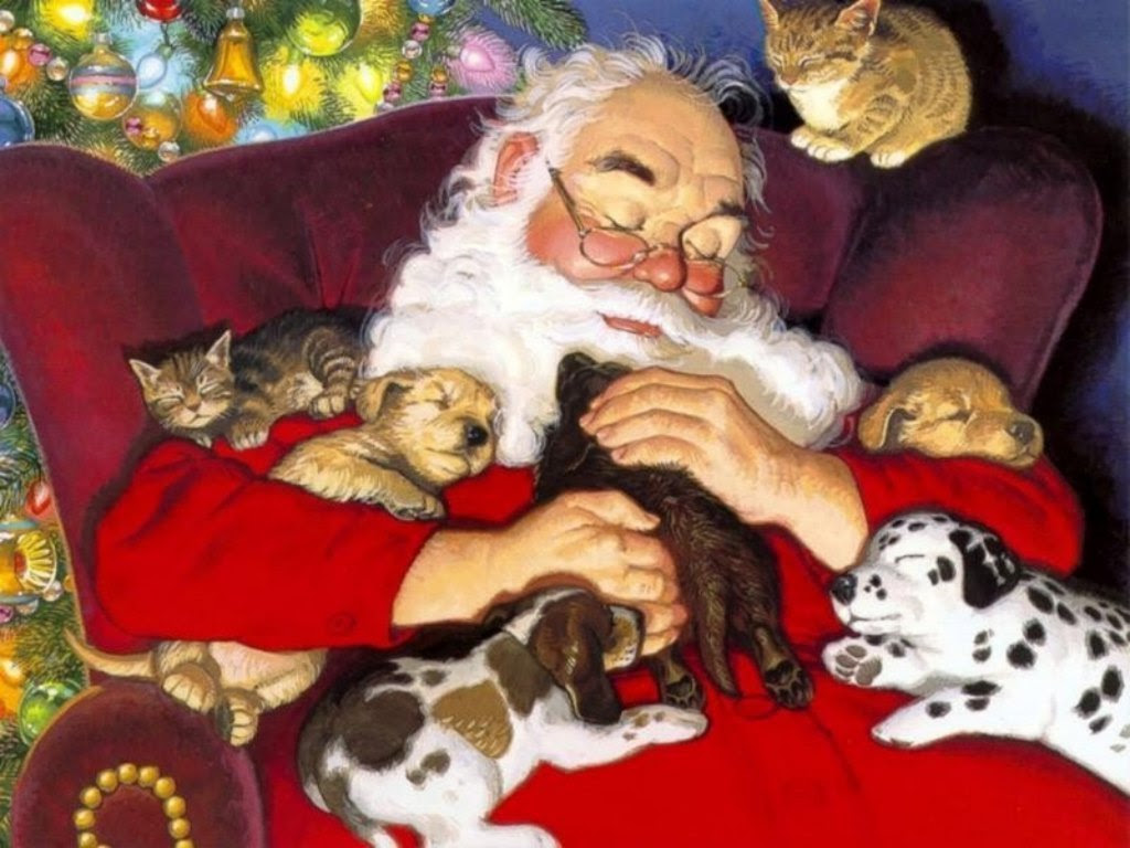 Christmas images Santa with Puppies and Kittens HD wallpaper and