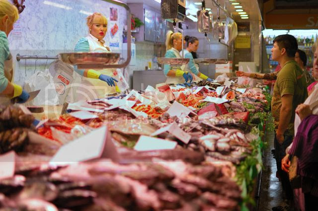 Fish stand at La Merce market, Barcelona, Spain [enlarge]