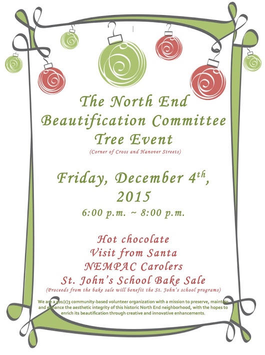 Friday Night! North End Beautification Committee Tree Event - NorthEndWaterfront.com