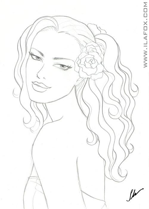 Mulher de cabelos enrolados com flor no cabelo, romana, ilustração com contorno a lápis by ila fox