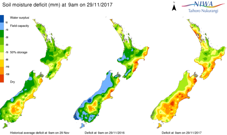 Dry conditions compared to this time last year.