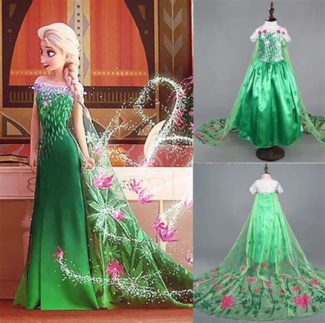 Details about Girls' Frozen Fever Dress Elsa Anna party
